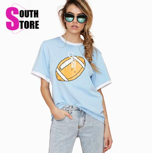 Brand T Shirt Women Summer Tops 2015 New Bf Style Rugby Print Casual Short Sleeve Cute T-shirt Sport All-Match Tees Plus Size - South Store Do It Better store