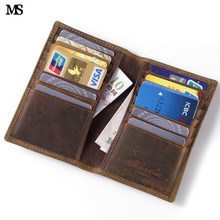 Buy MS Vintage Men's Genuine Leather Wallet Business Casual Credit Card ID Holder Large Slots Money Card Holder Brown Wallet K101 for $15.34 in AliExpress store