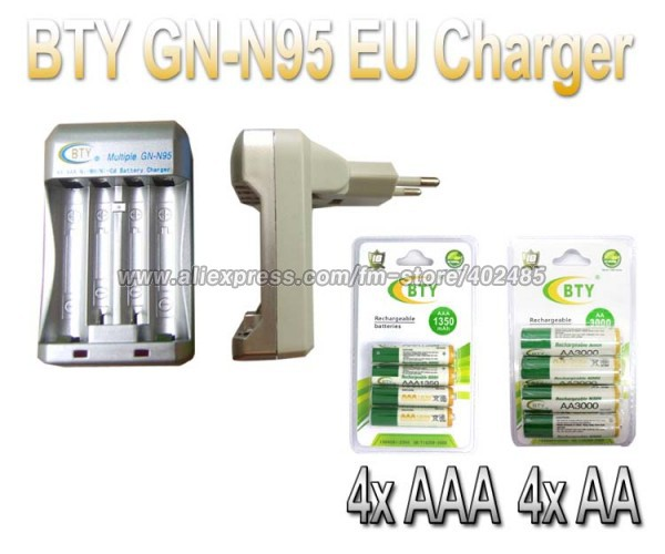 Hi speed Quick AA AAA Rechargeable Battery BTY EU Charger N95 4x AA 3000mAh 4x AAA