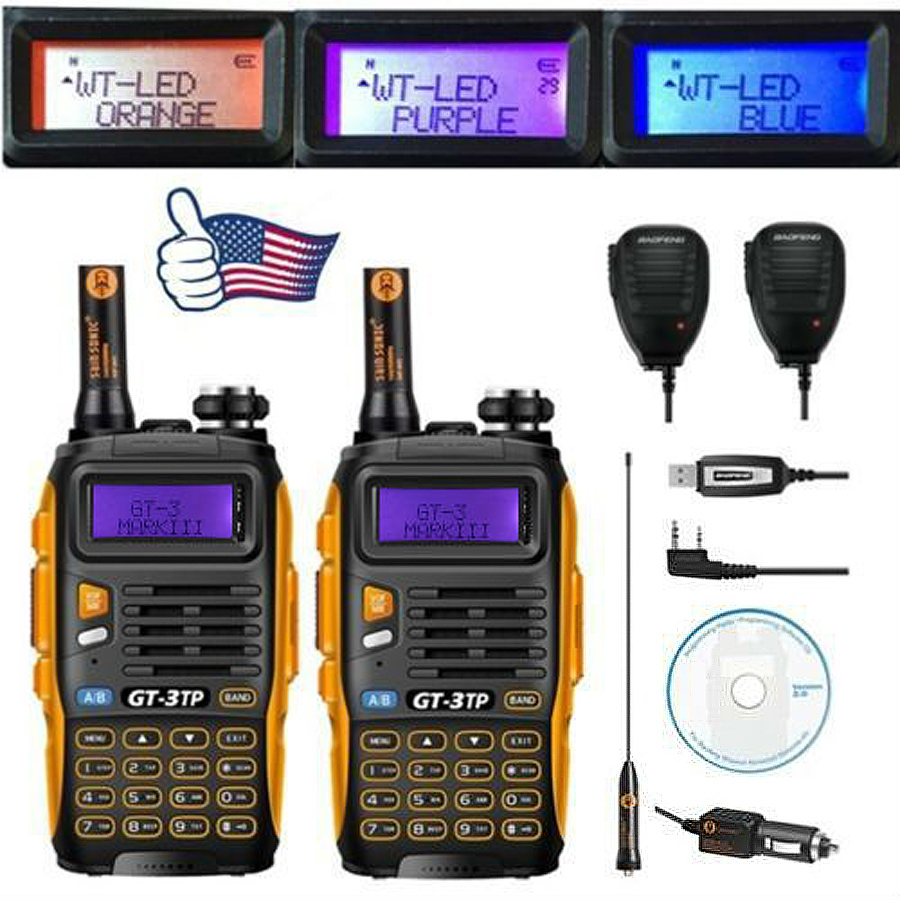 2x Baofeng GT-3TP MarkIII VHF/UHF Dual Band Ham Walkie Talkie Two-way Radio + 2x Speaker + 1x Cable 1/4/8W FM(China (Mainland))