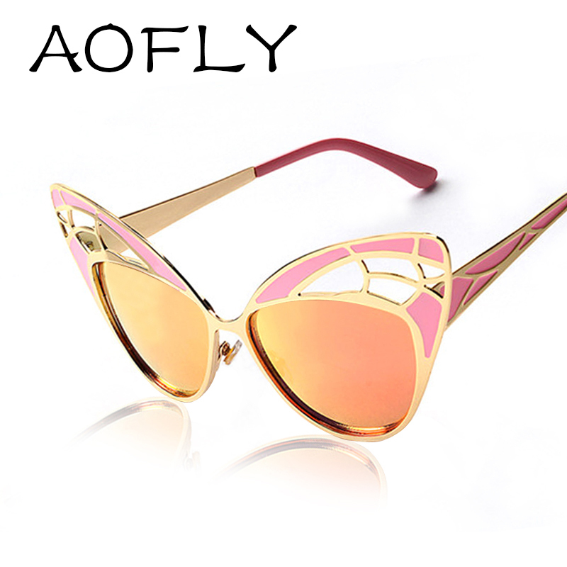 AOFLY Newest Fashion Women Cat Eye Sunglasses Brand Design Metal Frame Openwork Mesh butterfly Sun Glasses Vintage Oculos De Sol(China (Mainland))