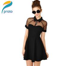 2015 New Fashion Gauze Panel Big Swing Skater Dress Mesh Pannel Black Dress Girls Elegant  Summer Dress Vestido De Festa 9047(China (Mainland))