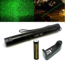 Laser 303 200mW Green Laser Pointer Adjustable Focal Length and Star Pattern Filter Laser Flashlight+ 4000MAH Battery+ charger(China (Mainland))