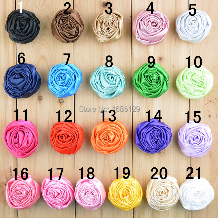"""2""""New Multilayer Satin Rosettes Rose Fabric Flowers For Baby Girl Headband Hair Acessories Corsage Cap DIY Photo Props 40pcs/lot(China (Mainland))"""