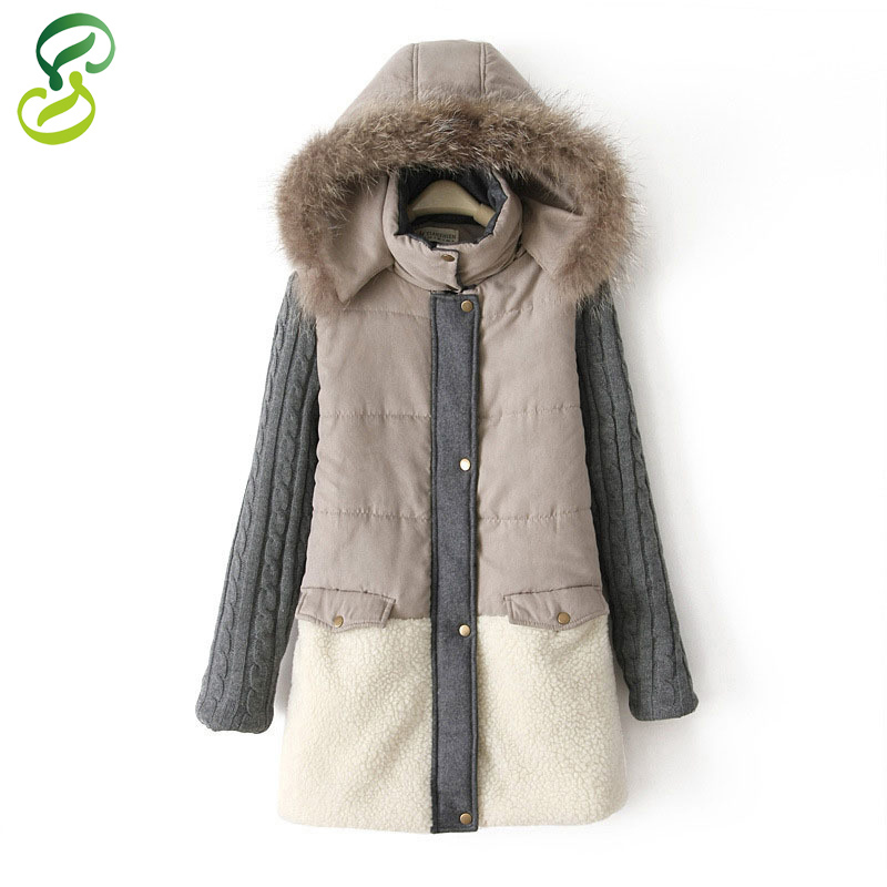 2015 New Fashion Plus Size Women Coat Hoody Long Style Warm Winter Real Fur Collar Suede Sweater Patchwork Parka