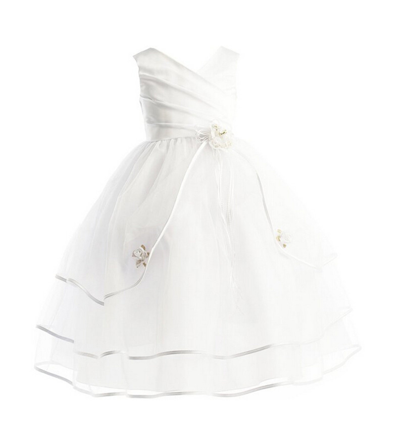 Girl Long Summer Dress Party Bowknot Layered Sleeveless White Flower Girl Dresses For Wedding Ball Gown Teenage Kids Clothes(China (Mainland))