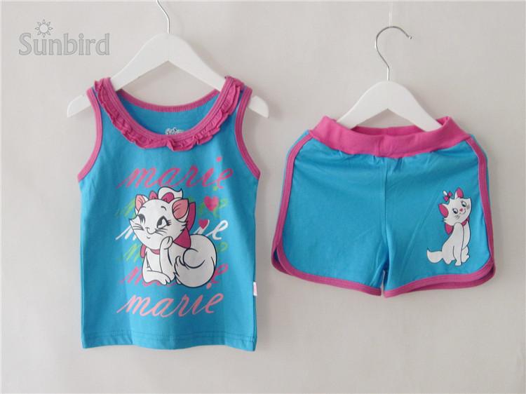 QO1, White Cat, Baby/Children vest clothing set , 100% Cotton sleeveless pajamas/sleepwear sets for 2-7 year.<br><br>Aliexpress