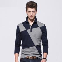 Men Polo Shirt [spot] 2016 Autumn Winter Mens Patchwork Shirts Men's Lapel Stitching Long Sleeve Men's Polo Shirt Cotton Camisa