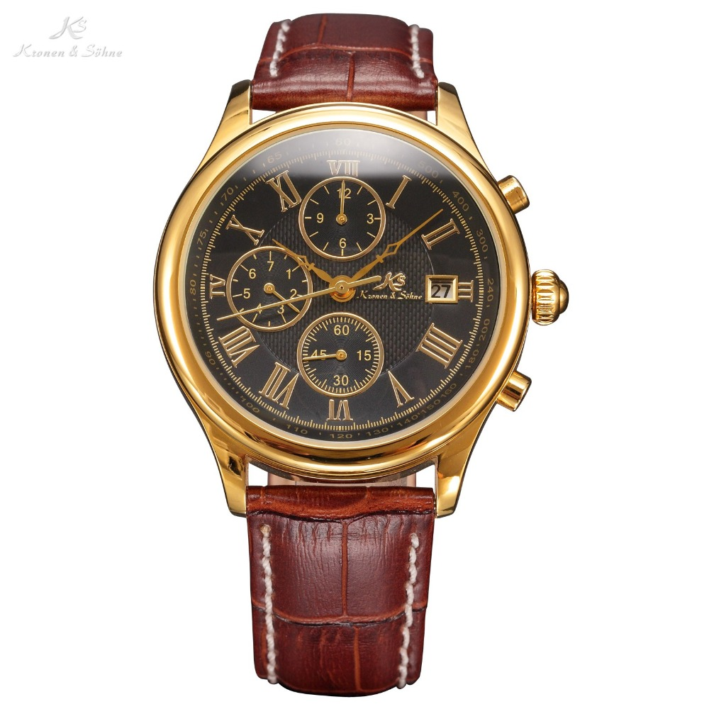Luxury Brand Watches Men KS 6 Hands Glass Golden Case Date Leather Strap Relogio Automatic Mechanical Self Wind Watch / KS149(China (Mainland))