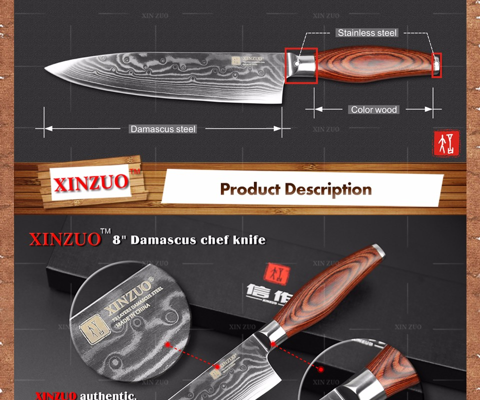 Buy XINZUO chef knife Japanese Damascus kitchen knife kitchen tool cooker knife Western chef knife Color wood handle free shipping cheap