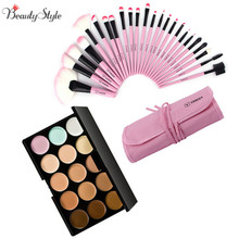 15 Colors Contour Face Cream Makeup Cosmetic Concealer Palette Make Up Kits + 24pcs Professional Maquiagem Makeup Brushes Sets(China (Mainland))