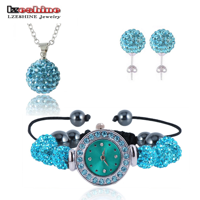 New 10mm Balls Watch Shamballa Set Crystal Earrings/Necklace Pendant/Bracelet Jewelry Sets Mix Colors Options aretes SHLSTUmix1