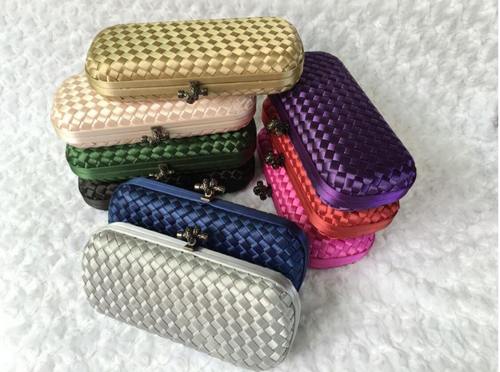 new 2015 Wove evening bag knitting clutch bags elegant wedding bag candy color bridal purse party Clutches With Chain handbags(China (Mainland))