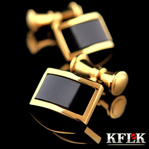KFLK - high quality trendy Black Onyx gold(color) Chains cufflinks for men - Electroplating process-Made in China<br><br>Aliexpress