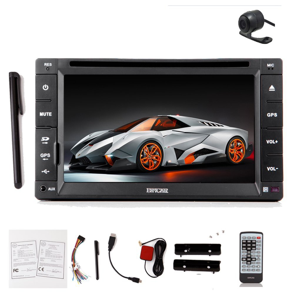 Eincar Double 2 Din 6.2 inch HD GPS Navigation SAT Car audio Radio RDS Ipod Car Stereo DVD CD MP3 Player+Free Map+Rear Camera(China (Mainland))