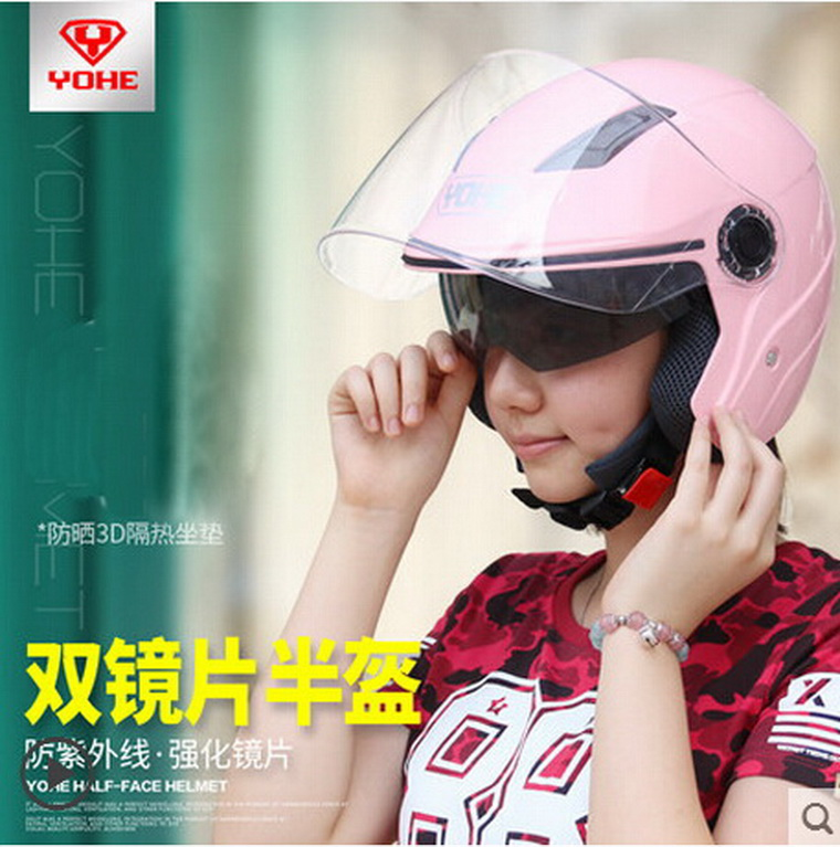 ABS YOHE double lenses half face motorbike/motorcycle helmet Eternal electric bicycle helmets YH837A SIZE M L XL XXL 7 colors(China (Mainland))