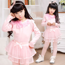 Baby Girl Long Sleeve Clothing with Bow for Spring 2016 New Children O-neck Cotton 3D Flower Base Shirt For Party(China (Mainland))