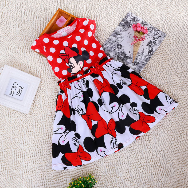2016 New Summer Girl Dress Minnie Dot Red Baby Princess 2-7 Years Children Dresses Brand Kids Girls Clothing - good value store
