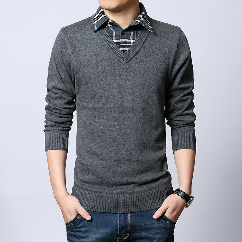 Spring and autumn male sweater grey shirt collar faux two for Mens sweater collared shirt