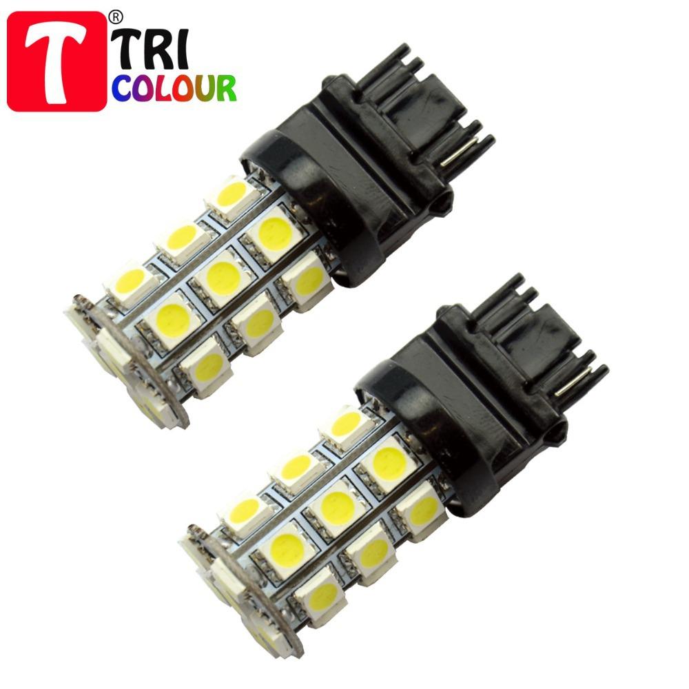 HK POST FREE + Wholesale 200pcs! T25 3156 3157 27 SMD 5050 Car Brake light Rear Turn signal light White Blue Red Yellow12V#LE05