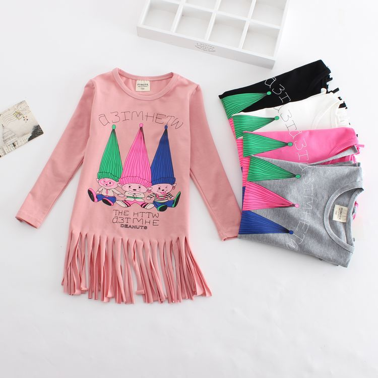 2016  spring new childrens clothing girls cotton long  fringed cartoon T-Shirts<br><br>Aliexpress