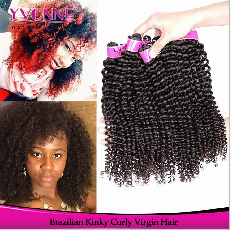 Kinky Curly Virgin Brazilian Hair Weave Bundles,3Pcs/lot Remy Human Hair,8-28 Inches Hot Selling Aliexpress Yvonne Hair Products(China (Mainland))