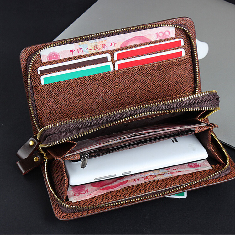 2015 fashion casual design men clutch with multiple Card Holder and phone pouch card wallet men