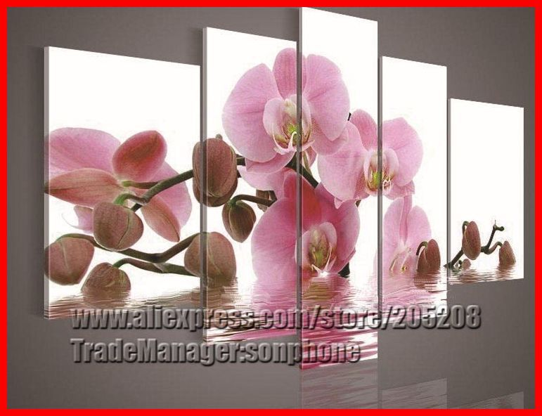 Framed 5 Panel Crafts Large Pink Orchid Painting Flowers Wall Art Picture Frame Home Decoration quadros de parede XD02178(Hong Kong)