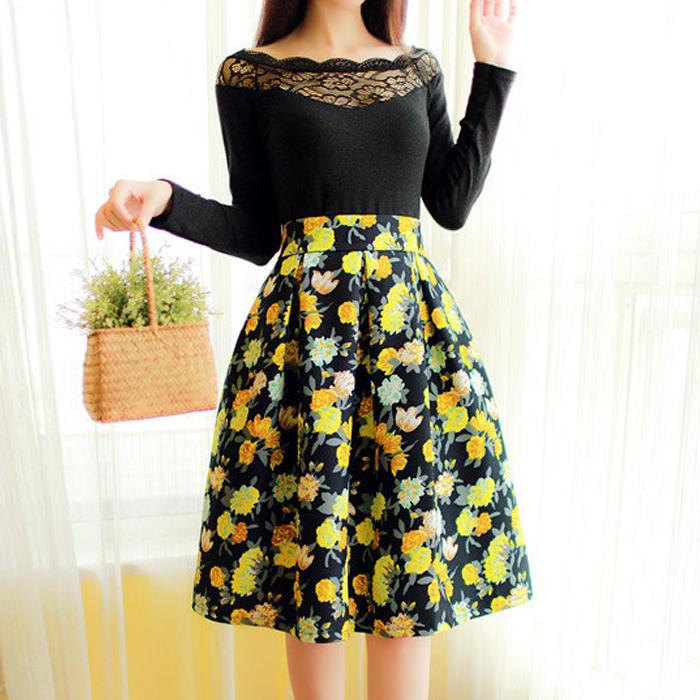 2015 Jupe Women Line Skirt High Waist Floral Houndstooth Midi Saia Feminina Long Printed Skirts M-XL 1212-15 - Guangzhou Maybe Trading Co., Ltd store