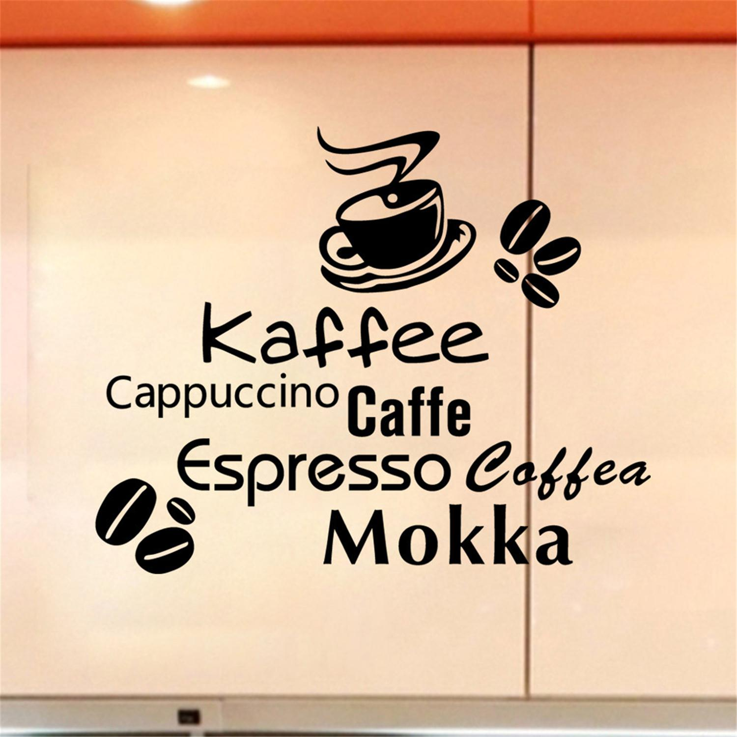 2016 Hot Selling Cute Coffee Shop Wall Stickers Waterproof Kitchen Wall Sticker Home Decoration Creative PVC Decal Mural Art(China (Mainland))