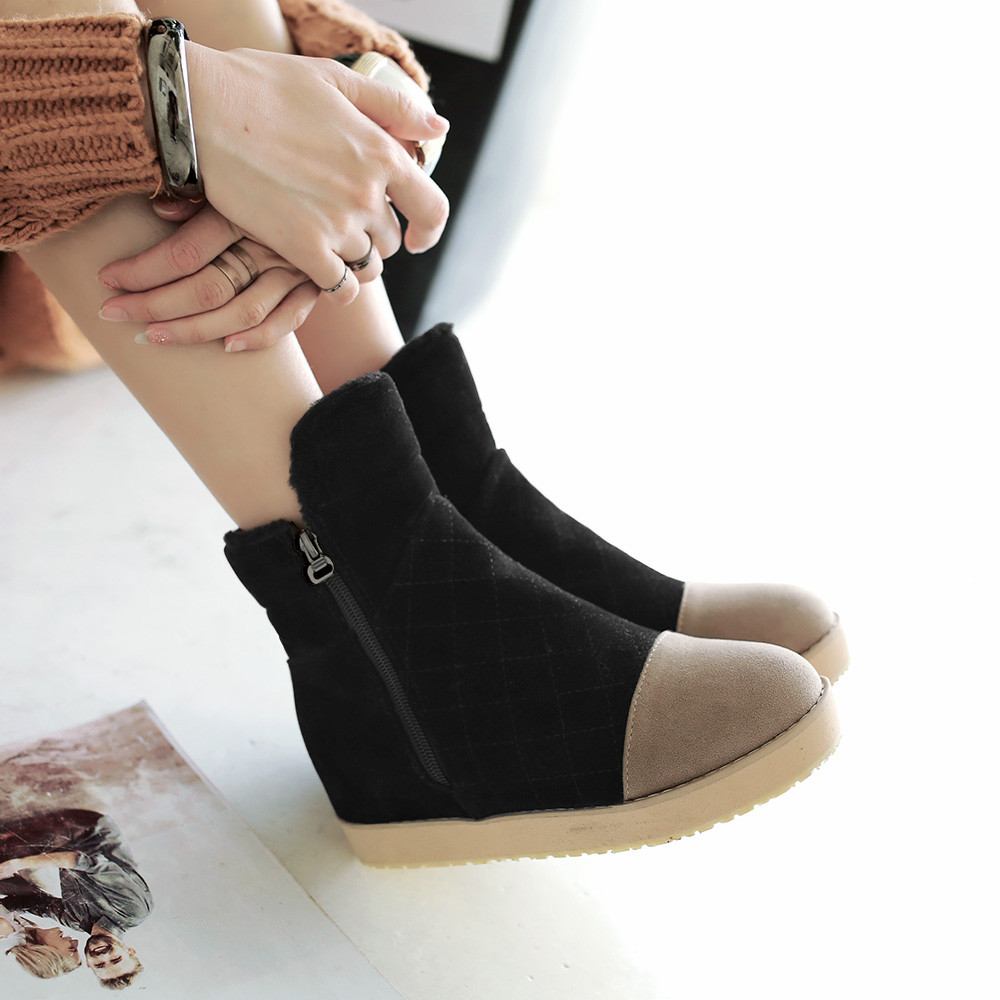 2016 Fashion Joker Suede Round Head Women Winter Russia Snow Boots Warm Flat Ziper Mixed Colors Female Ankle Boots Free Shipping