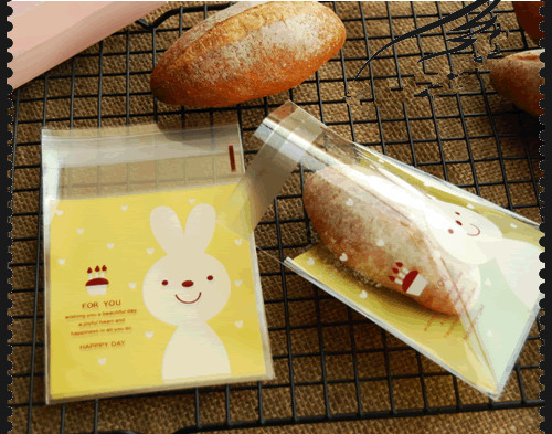 FREE SHIPPING Ziplock Doughnut cookies Bag yellow Cute Rabbit Plastic Biscuits Pouch Candy Sweets Package Bags(China (Mainland))
