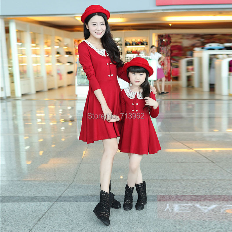 -SG651-2015 Family Set Mother Daughter Child Baby Pleated Long-sleeve Slim Spring Autumn Princess Dress - Sparkling Gifts store