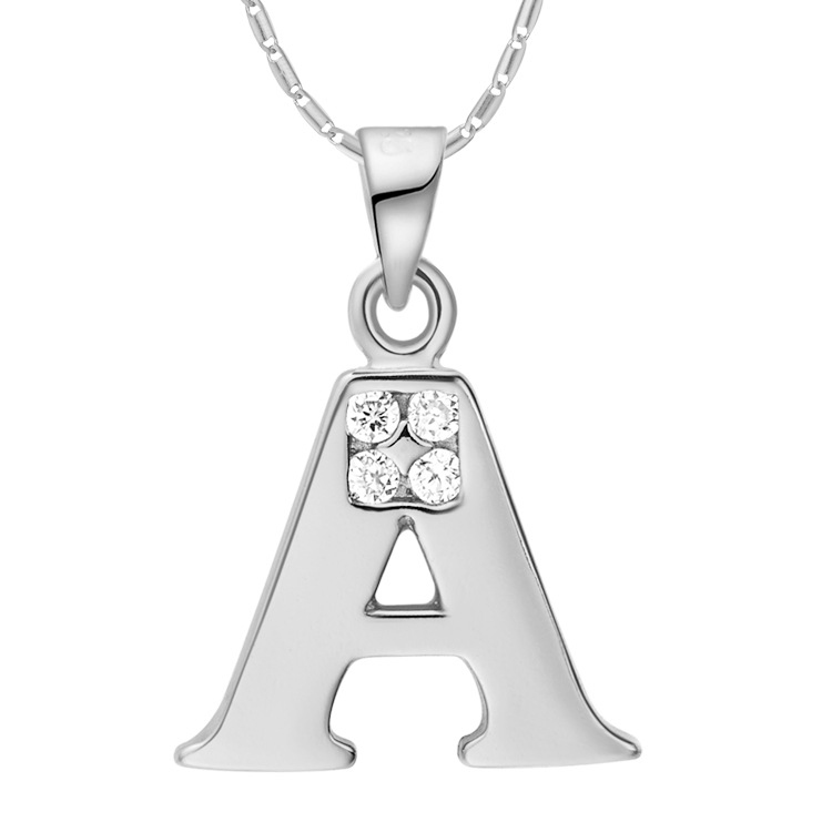 Letter A B C D E F G H I J K L M N O P Q S T U V W X Y Z Personalized Jewelry Pendant Necklace with CZ Zircon Silver Plated Gift(China (Mainland))