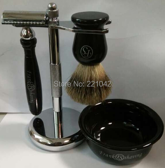 FRANK SHAVING resin shaving set,natural badger brush+ double-edge razor+metal stand+free ceramic bowl