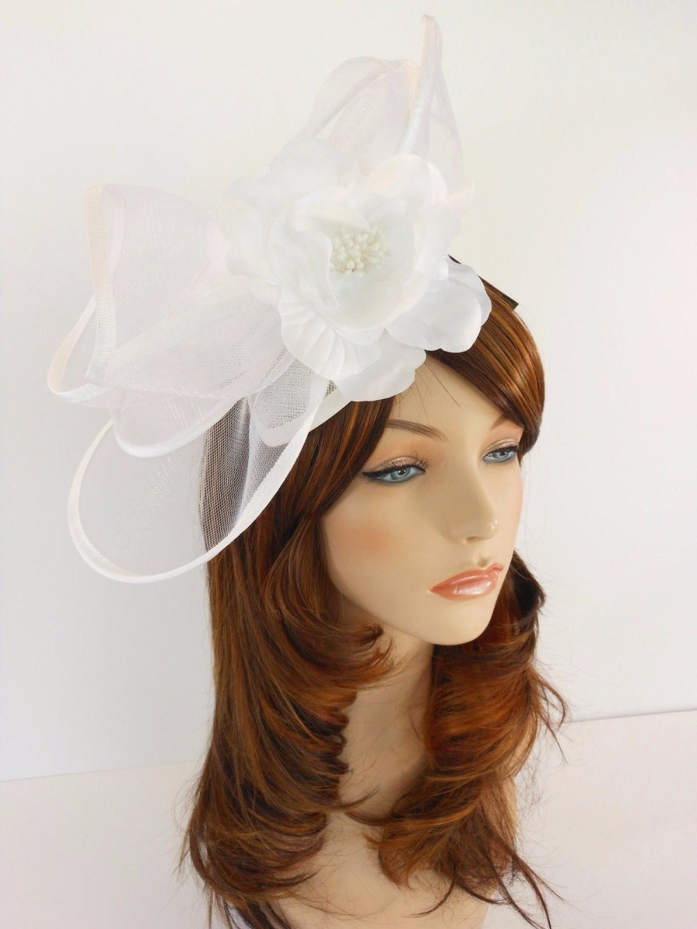 New Church Derby Wedding Cocaktail Party Poly Fascinator Dress Hat w Headband FS-06 White(China (Mainland))
