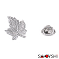 SAVOYSHI Classic Silver Leaf Shape Men Lapel Pin Brooches Pins Fine Gift for Mens Brooches Collar