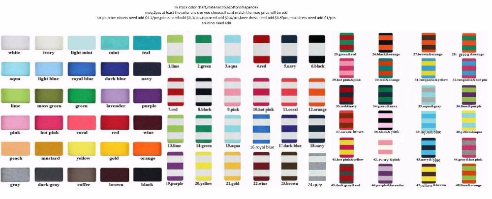 color chart and moq