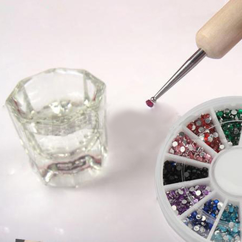 1.5mm 1800 Nail Art Rhinestone Glitter Tip Multicolor Mix Gems Wheel  G#J6