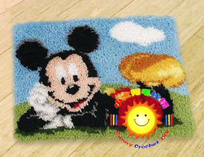 DIY Mat Needlework Kit Unfinished Crocheting Rug Yarn Cushion Embroidery Carpet mickey mouse(China (Mainland))