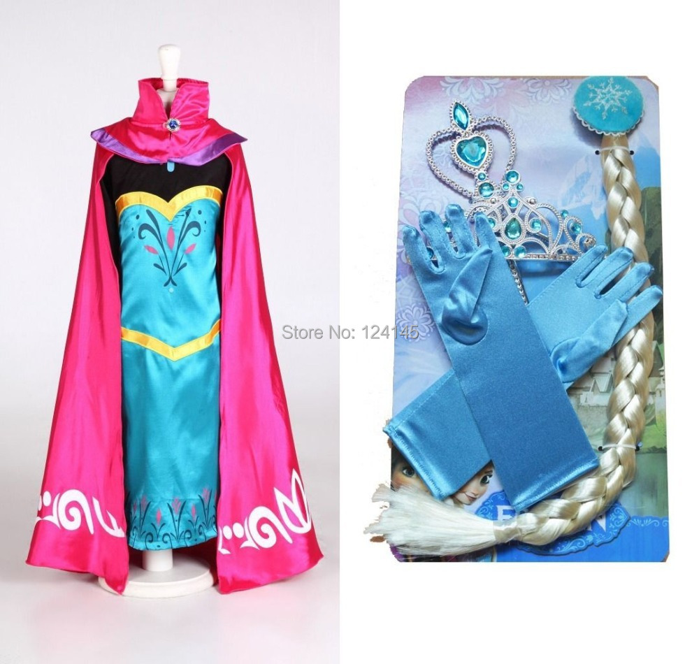 2014 Carnival Costume Kingdom Elsa for Queen's Clothes Cosplay Sets Cloak Dress Gloves Wigs Crown Scepter Baby Costume(China (Mainland))