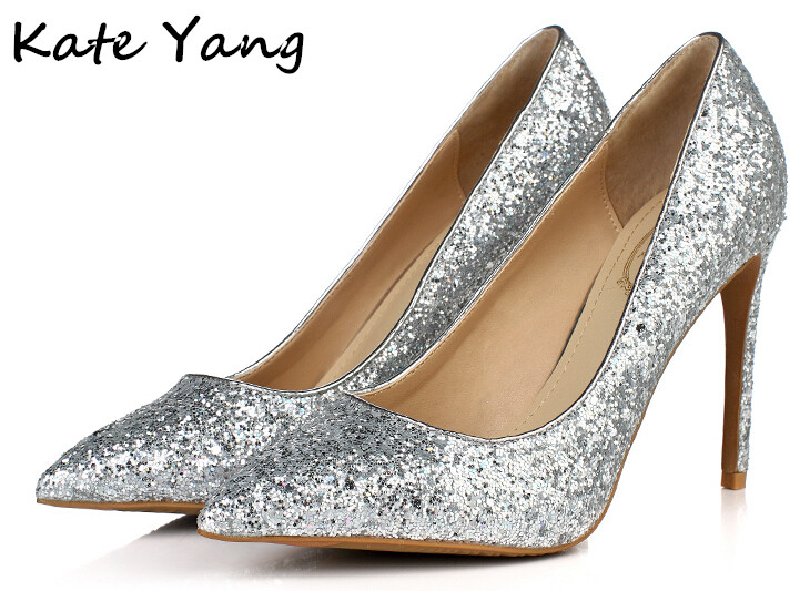 """Luxury Silver Glitter Shoes Women Pumps Wedding Shoes Pointed Toe High Heels Sexy Shoes High Heels Brand Name """"Miss left"""" M0-006(China (Mainland))"""