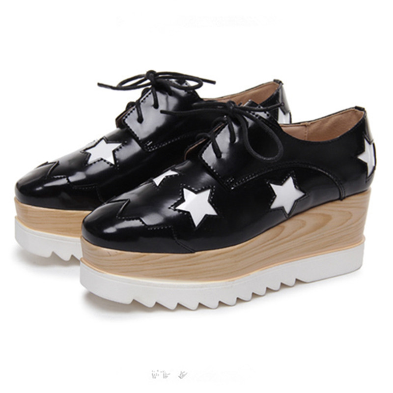 2016 Stars Womens Flats Round Toe Patent Leather Platform Shoes Oxford Lace Size 34-39 Brogue WE009 - JSVOVUGG Store store