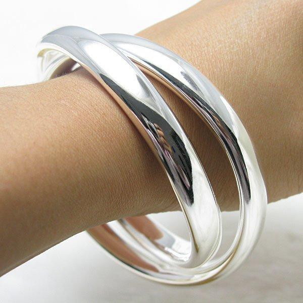 925 silver bracelet bangle cuff fashion jewelry double circle design(China (Mainland))