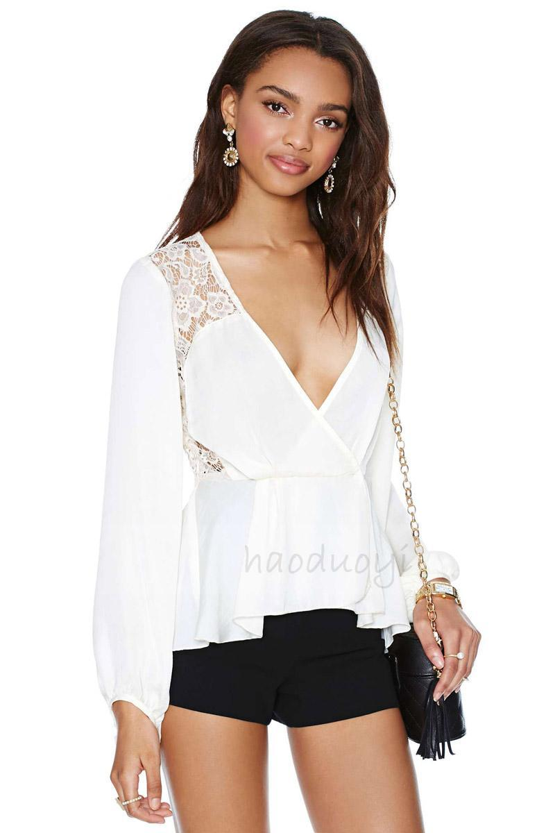 Deep V Collar Side Lacing Puff Sleeve Fold Blouse Half the Perspective Frre Shipping(China (Mainland))