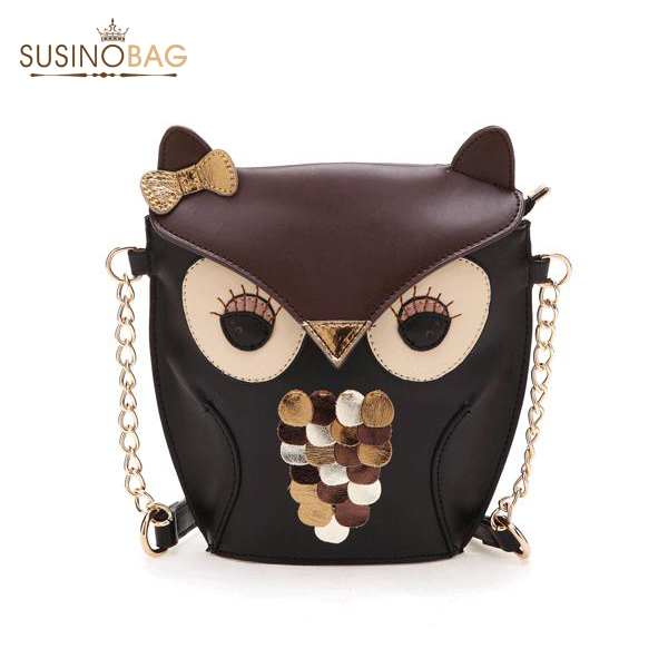 2015 new fashion women leather handbags cartoon bag owl fox shoulder bags women messenger bags wallte cute 5 colors bolsa(China (Mainland))