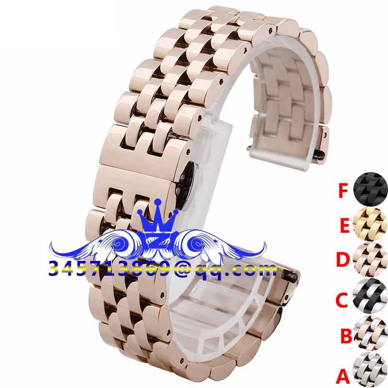 2015 Hot Sale New Fashion 6 Colors Replacement Stainless Steel Solid-Links Watch Band Strap Bracelet Curved End 17 mm<br><br>Aliexpress