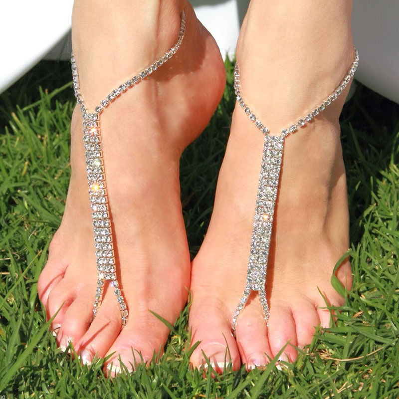 Hot fashion Barefoot beach sandals Bridal/wedding diamante anklet foot jewellery crystal chain anklets(China (Mainland))
