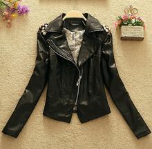 Fashion New Autumn PU leather coat 2015 Short slim locomotive Ms. leather Long Sleeves Women Big Size coat Jacket MY1246(China (Mainland))