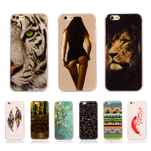 For iPhone6 Retro Painting Tribe Lion Cover Soft TPU Case For Apple iPhone 6 6s 4.7″ Silicone Capa Para Mobile Phone Bag